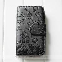 New Fashionable Black level Flip Handmade Leather PU Case Cover For iPhone 4 4S