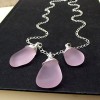 Pink Drops Necklace:  Blossom Rose Pink Sea Glass Necklace, Hammered Silver Chain Necklace, Summer Beach Wedding Jewelry