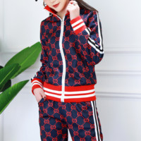 GUCCI Fashion new stripe more letter print slim long sleeve top and trousers casual two piece suit coat Blue
