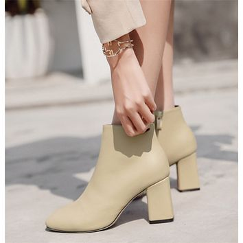 Women Simple All-match Fashion Square-toe Rough Heel Short Boots Heels Shoes