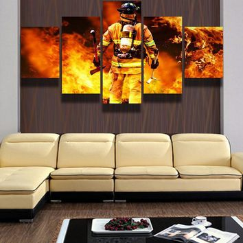 New 5 Pieces/sets Canvas Art HD Firefighters Canvas Painting Print Living Room Decorations For Home Wall Art Prints Canvas\C-366