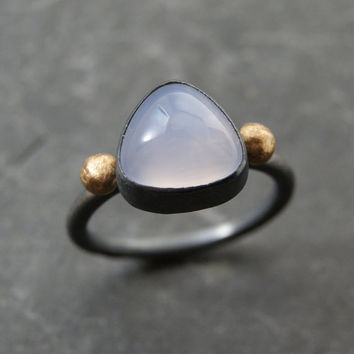 Lavender Chalcedony Ring in Oxidized Sterling Silver and 14K yellow gold