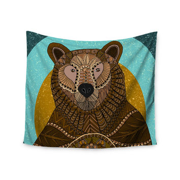 "Art Love Passion ""Bear in Grass"" Brown Blue Wall Tapestry"
