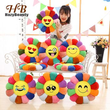 HazyBeauty Flower Shape Creative Pillows Emoticons Chair Cushion Emoji Office Seat Cushion Smiley Face Throw Pillows Cushions
