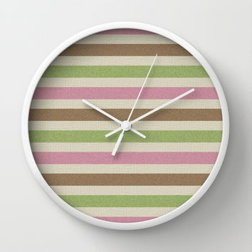 Girly Nature Stripes Wall Clock by KCavender Designs