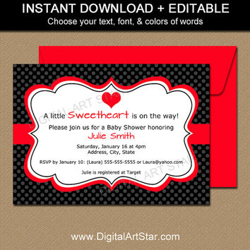 EDITABLE Valentines Day Invitation Template - Printable Valentines Day Baby Shower Invitation - Digital Valentine Bridal Shower Invitations