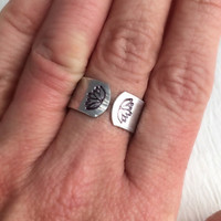 Lotus Flower Ring, hand stamped hammered yoga aluminum silver adjustable band wide flowers birthday graduation gift gifts for her