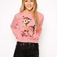 ASOS Cropped Boyfriend Sweatshirt with Cute Deer Print