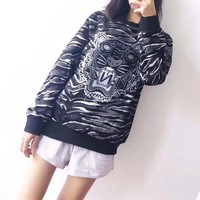 Kenzo Unisex Fashion Personality Print Embroidery Tiger Head Letter Pattern Long Sleeve Sweater Couple Tops