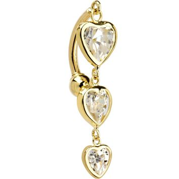 Solid 14KT Yellow Gold TOP MOUNT Cubic Zirconia HEART TRILOGY Belly Ring