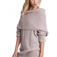 Smolder Off the Shoulder Oversized Sweater - Mauve RESTOCKED!