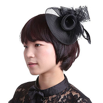 Navifoce Fashion Women's Flower Feather Mesh Net Fascinator Beaded Cocktail Headwear with Hair Clip and Brooch (Black)