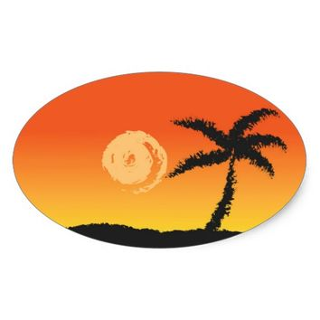 Island Sunset Oval Sticker