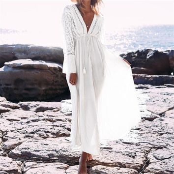 V Deep Neck Hollow Long Dress Women Plus Size Summer Beach Tunic White Cotton Sexy A Line Long Dress Vestidos designer clothes