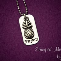 Psych - Hand Stamped Stainless Steel Necklace - Shawn and Gus Pineapple - TV Show -
