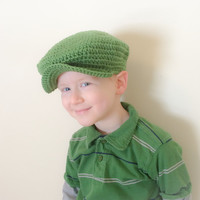 St. Patricks Day Newsboy Cap for Boys Kelly Green Donegal Hat Flat Cap Scally Cap 3-8 years Organic Eco Friendly