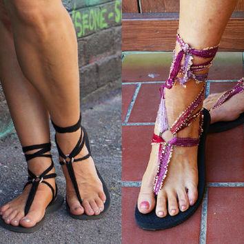 Lace Up Sandals with TWO pairs of Interchangeable Laces.