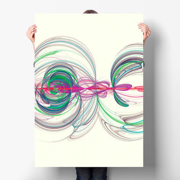 Minimalist Cosmic Energy Spirals Poster Print - Infinity Symbol - Fractal Art, Digital Download | Abstract Wall Art by Mila Tovar