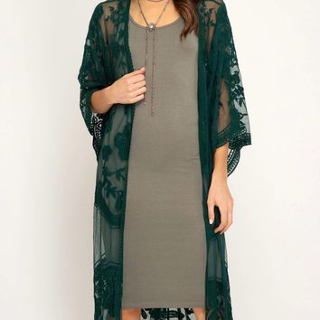 anabelle - crochet lace half sleeve midi duster kimono cardigan - sea green