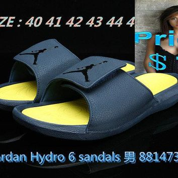 nike sneakers vintage mens Air Jordan Hydro 6 sandals slide slipper dark-blue  shoes