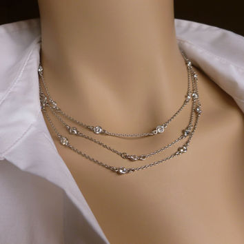 """Station Necklace, Cubic Zirconia CZ and Silver (or Gold) Necklace, 48"""" and 60"""", Rhodium / Sterling Silver"""