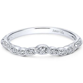 "Gabriel ""Chelsea"" Vintage Style Curved Engraved Diamond Wedding Band"