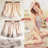 [US$ 21.59] Lace Lined Elastic Shorts