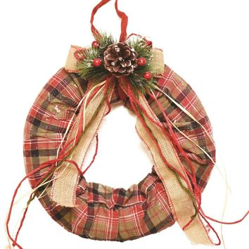 "13"" Decorative Green  Red and White Plaid Christmas Wreath with Burlap Bow and Pine Accents - Unlit"