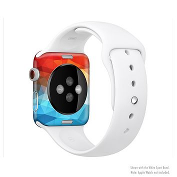 The Vector Abstract Shaped Blue-Orange Overlay Full-Body Skin Set for the Apple Watch