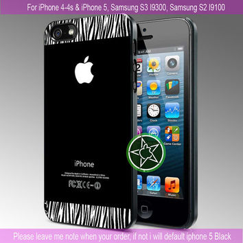 zebra print texture on black iPhone 4 Case iPhone 4S Case iPhone 5 Case Samsung s3 Case Samsung S2 Case Hard Cover