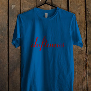 Deftones Logo Blue Mens T Shirt **