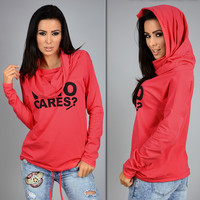 Plus Size Women Hoody Sweatshirt 2016 Autumn Women Who Cares Letter Print Hoodies Long Sleeve Casual Hooded Sweatshirts GV288