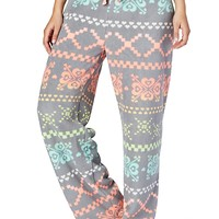 Gray Neon Fairisle Plush PJ Pant