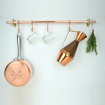 Handmade Copper Pot And Pan Rail, Pan Organizer, Kitchen Storage, Utensil Storage Holder