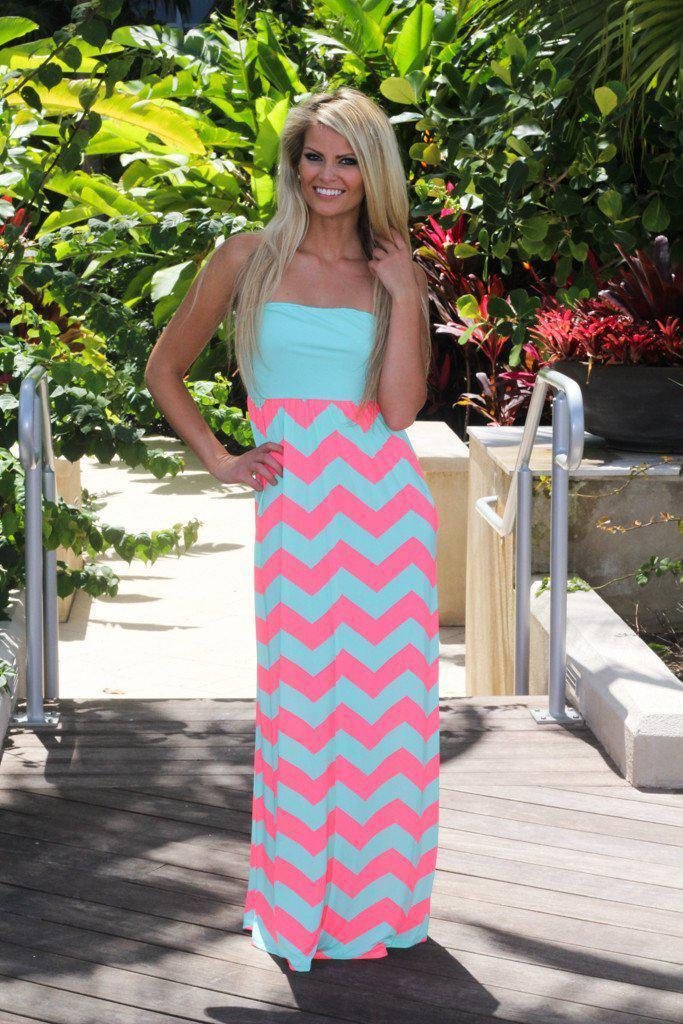 0c416d740 Aqua Chevron Maxi Dress With Back Bow from Saved By The Dress