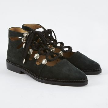Toga Pulla Lace Up Boot - Green Suede