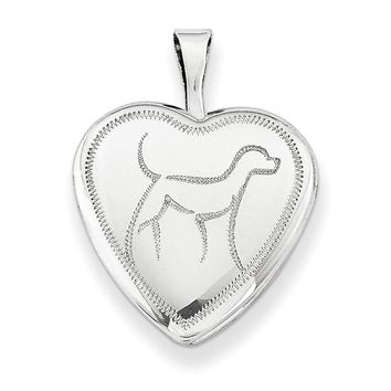 Sterling Silver 16mm Dog Heart Locket