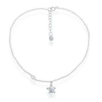 Turtle Anklet, Clear Cz