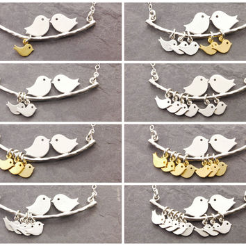 Love Birds Necklace for Moms of 1-10 Kids by Megu's Attic