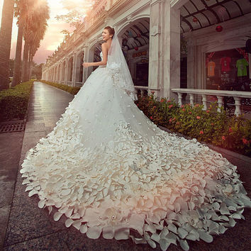 Ball Gown Sweetheart Strapless LuxuryTrain Handmade Petal Appliques Beading Wedding Dress # 90938389