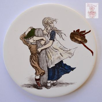 Very RARE Antique English Victorian Transfer Round Tea Trivet Tile H & R Johnson Sisters in a Wind Storm