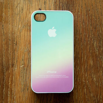 Pastel Color IPhone 4 Case 4S New Pink Aqua Apple Logo Gradient Ombre
