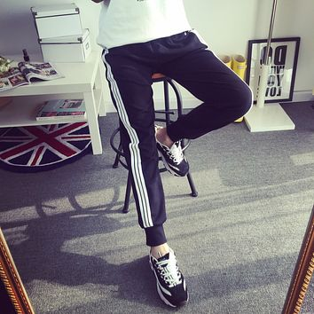 Women Sport Casual Multicolor Stripe Loose Sweatpants Leisure Pants Trousers