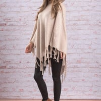 The Pricilla Poncho, Tan