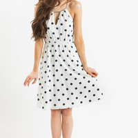 Daisy Navy Polka Dot Midi Dress