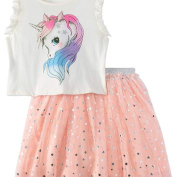 Girls' Unicorn Ruffle Tank And Starry Foil Skirt 2-Piece Outfit