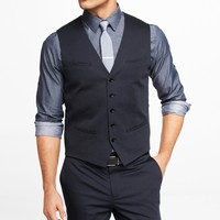 NAVY COTTON SATEEN SUIT VEST
