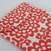 iPad Sleeve Padded with Flap in Amy Butler Red by moxiebscloset