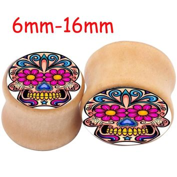 Saddle Ear plug Skull Wooden Ear Plugs Concave Flower Wood Flesh Tunnel Taper Stretcher