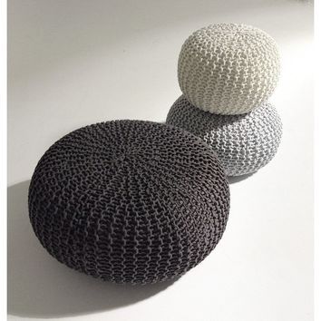 Handmade Round Knitted Pouf | Charcoal Gray | 80x35cm | GFURN